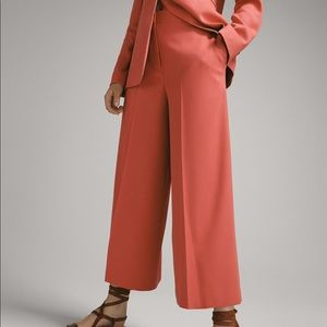 New Massimo Dutti Culotte Textured Weave Trousers